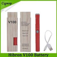 evod design großhandel-100% Original Hibron V100 VAPE Batterie 650mAh Vorheizen Variable Voltage Diskreter Vape Pen mit USB-Ladegerät Neuester Modus Batterie Design Evod