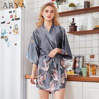 vestido de seda con cinturón al por mayor-ARYA Silk Satin Crane Print Short Kimono Self Belted Robe V Neck Half Sleeve Women Summer Bata Bata de noche Ropa de dormir