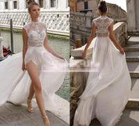 Wholesale modern wedding dress red bow online - Julie Vino High Slits Wedding Dresses Bohemia Sexy Lace Appliqued A Line Beach Illusion Side Split Custom Made cheap Bridal Gowns