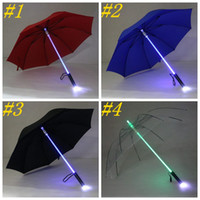 rosas guarda-chuva venda por atacado-Arrefecer Blade Runner Light Saber LED Flash Light Umbrella Rose Umbrella Noite Walkers Lanterna Garrafa Umbrella ZZA1395a