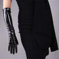 ingrosso guanti in pelle di pecora lunga-Guanti di 50cm lunghi Sectiof Patent Leather Gloves emulazione in pelle di pecora luminosa PU luminoso donne nere WPU42-50