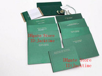 Wholesale free card models resale online - Original Correct Papers Luxury Newest Top Green Gift Bag for Rolex Boxes Booklets Watches Free Custom Print Model Serial Number Card