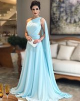 Wholesale turquoise black dress for sale - Group buy 2020 Cheap Arabic Turquoise Sky Blue Prom Dresses One Shoulder Long A Line Chiffon Sheer Sheer Open Back Formal Party Dress Evening Gowns
