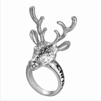 Wholesale alphabets animal cartoon resale online - European and American vintage alloy ring Christmas moose ring cartoon animal alphabet