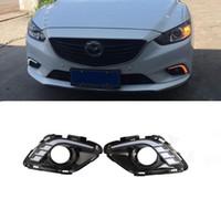 tampa da lâmpada mazda venda por atacado-2 Pcs DRL Para Mazda 6 Mazda6 2013 2014 2015 luzes diurnas de nevoeiro tampa da lâmpada do farol 12 V Daylight car-styling