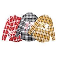 высокое качество tshirt оптовых-19ss новый дизайнер рубашка JUMU прилив бренд высокого качества мужские рубашки решетки вишни хлопок женщины футболка повседневная свободная мода горячая футболка