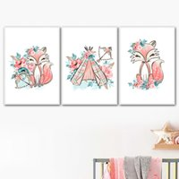 Wholesale spray tents for sale - Group buy Cartoon Pink Fox Tent Flower Leaf Nordic Posters And Prints Wall Art Canvas Painting Watercolor Wall Pictures Kids Room Decor