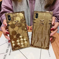 Wholesale Women fashion luxury Gold case For iPhone Plus XS XR XSMAX Samsung S10 plus Hard Coque bling case gold trunk Fundas