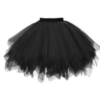 siyah tutu kadınlar toptan satış-Etekler Kadın Balo Katı Etek Dans Mini Tül Etek Kız Tutu Bale Elbise Siyah Pembe 18mar23