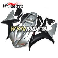 mate r1 al por mayor-Carenados de motocicleta para Yamaha YZF 1000 R1 2002 2003 Matte Silver Negro yzf 1000 r1 02 03 ABS Inyección de plástico Cubiertas de motos cubiertas