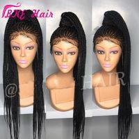 Wholesale long synthetic hair braid resale online - 2019 NEW Cornrow braid wig full Box Braids Hair Synthetic Lace Front Wigs Long Black Dark brown burgundy blonde African American Wigs