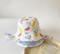 Wholesale cute korean baby hat resale online - New Spring Summer Toddlers Kids Cartoon Printing Bucket Hats Korean Style Outdoor Sunhat Baby Children Cute Caps