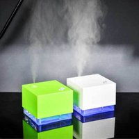 Wholesale car night resale online - 250ml Water Cube Shape Ultrasonic Humidifier LED Blue Light Night Lamp Essential Diffuser Air Purifier Car Styling