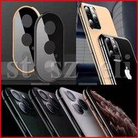 iphone kamera halka koruyucusu toptan satış-iphone 11 Pro XS Max XR X Yüzük Metal Arka Kılıf temperli cam Film Moda Koruyucu Kılıf için Geri Kamera Lens Ekran Koruyucu