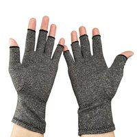 перчатка для терапии оптовых-1Pair Elastic Half-finger Washable Lightweight Therapy Hand Arthritis Joint Pain Durable Compression Gloves Unisex Relief