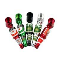 botellas de cerveza de metal al por mayor-Pequeña botella de cerveza metal fumadores Mano Pipe estilo Mini Tamaño del filtro Tubos de humo de tabaco portátil de la hornilla de aceite de tuberías accesorios de fumar