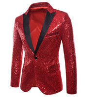 Wholesale glitter stage for sale - Group buy MoneRffi Mens Shiny Blazers Jackets Sequin Glitter suit Jacket Men Nightclub DJ Stage Singer Blazers Wedding Party Overcoat Male