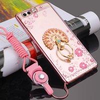 pro blumen großhandel-3D Blume Glitter Telefonkasten Für Huawei P30 P20 Pro Y9 Ehre V20 20Pro 10 9X8X MAX 8C TPU Fingerring Strass Weiche Silikonabdeckungen