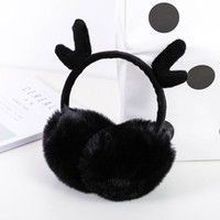 симпатичные наушники для ушей на зиму оптовых-Ear Muffs Winter Warmers Cute Antlers Flannel Fur Earwarmers Outdoor For Women Girls Gift Cover Ear 1 PC