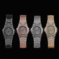mens relógios de pulso venda por atacado-Iced Out Mens Relógios De Cristal Data De Quartzo Relógio De Pulso De Hip Hop Relógios W001