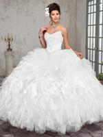 vestido de fiesta blanco talla 18 al por mayor-Pretty White Green Organza Strapless Beads vestidos de quinceañera Ocasión especial Vestidos de fiesta Baile Vestidos de baile Tamaño personalizado 2-18 KF101375