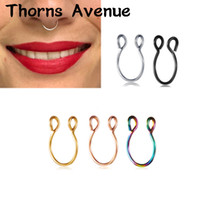 Wholesale titanium nose hoop jewelry resale online - New Fashion Sliver Gold Color U Shape Hoop Nose Rings Piercing Titanium Stainless Steel Fake Nose Ring For Women Men Jewelry