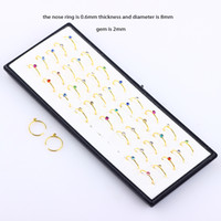 burun pimleri toptan satış-Çelik Burun Hoop Yüzükler Toptan Vücut Takı Kristal Burun Çiviler Pin Piercing Seksi Kadınlar Erkekler için 120 adet