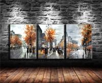 nackte mädchen tafelmalerei großhandel-Mädchen Weißer Regenschirm Roter Rock Blau Städtischen Regen, 3 P Leinwand Malerei Wohnzimmer Wohnkultur Moderne Wandkunst Ölgemälde