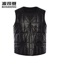 Wholesale high quality fasteners for sale - Group buy BOSIDENG new down vest for men down waistcoat snap fastener pockets high quality Rectangle plus size B80130003
