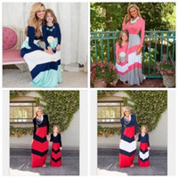anne kızı kıyafetler ayarlar toptan satış-Uzun Kollu Çizgili Elbise 4 Renkler Eklenmiş Renk ebeveyn-Çocuk Elbise Aile Eşleştirme Anne Kızı Elbiseler Giysileri 2 adet / takım LJJO6241