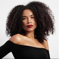 kinky cosplay toptan satış-Kısa Sentetik Afro Kinky Kıvırcık Peruk Yüksek Sıcaklık Fiber İsviçre Dantel Kahverengi Siyah Ombre Doğal Cosplay Peruk