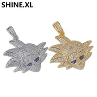 gümüş kaplama bilyalı kolye toptan satış-Mens Buzlu Out Elmas Zirkon Dragon Ball Wukong Kolye Kolye Altın Gümüş Renk Kaplama ile Ücretsiz Halat Zincir
