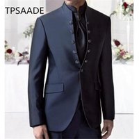 мужская одежда оптовых-Gentleman Stand Collar Navy Blue Men Suit Tuxedos Masculino 2Pieces(Jacket+Pants+Tie) Best Man Suit Latest Style Male Clothing
