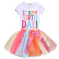 ingrosso camicie da compleanno per bambini-1-6 T Bambino Toddler Kids Girls Vestiti estivi Set It's My Birthday T-Shirt Shortsleeve Lace Skirt Party Cute Outfit 2 pezzi