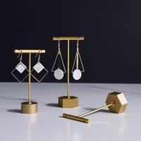 ohrringe boutique großhandel-Schmuck Schaufenster Ohrring Display Ständer Metall Kreuz Silber Gold Luxus Boutique Regal Stud Drop Creolen Halter Prop Schmuck Displays