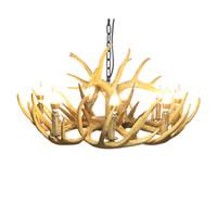 ingrosso disegno di illuminazione di bambù-North American Antler Chandelier Lighting Retrò in resina Corno di cervo Lampade Modern Home Decoration Kitchen E12 UL-Listed Warm White