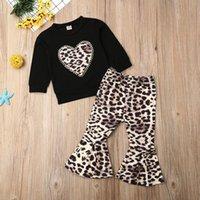 ingrosso tuta sportiva delle ragazze del leopardo-Bambino dei capretti neonate vestiti di leopardo maniche lunghe maglione T-Shirt Top Lungo pantaloni larghi Outfit Set 2 pezzi Tuta