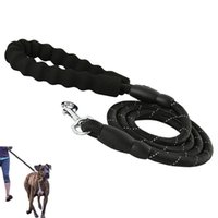Wholesale dog leads for training resale online - TPFOCUS large Dog Leash pet Walking training Lead Sewing Genuine Leather dog Traction rope Leashes for Medium Big Dogs