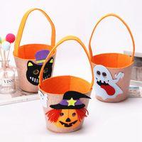 ingrosso borsa stampa gatto-Borsa con secchi di Halloween con stampa fantasma Creativo Baby Spider Basket Candy Borse Cartoon Kids Cat Tote Home Festiavel Supply TTA1688