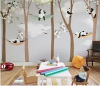 papel de parede do quarto do bebê venda por atacado-Grande Bonito Panda Árvores 3D Murais Dos Desenhos Animados Papel De Parede para o Quarto Da Criança Do Bebê Parede 3d Foto Mural de Papel De Parede adesivos