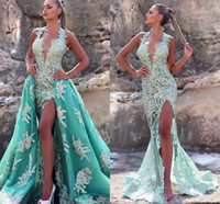 Wholesale sequined mint green prom dress resale online - Mint Green Mermaid Prom Dresses With Detachable Train Sexy Halter High Side Split Lace Appliqued Evening Gown Long Formal Party Dress