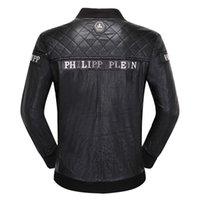 chaqueta de primavera negro para los hombres al por mayor-Hombres de la marca Chaquetas Abrigos Bikers Chaquetas de motocicleta Otoño Primavera Ropa Outwear Abrigo Boy Tops 3XL Negro
