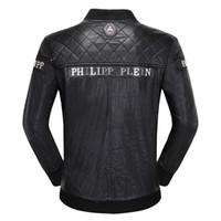 veste de printemps noir pour les hommes achat en gros de-Marque Hommes Veste Manteaux Bikers Moto Vestes Automne Printemps Vêtements Outwear Pardessus Garçon Tops 3XL Noir