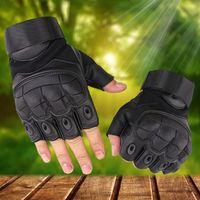 equipo de tiro al por mayor-Deportes al aire libre Guantes tácticos Disparos Medio dedo guantes Paintball Carbon Hunting Hard Knuckle Gloves Equipo táctico ZZA550