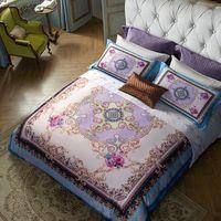 новые текстильные листы оптовых-2019 New Egyptian Cotton King Queen Size Quilt Cover Bed Sheet Pillowcases Boho Tribute Silk Home Textile Bedding Set