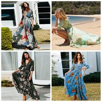 Wholesale women clothing for sale - Women Blast Bohemian Dresses floral Print V neck Button Designer Seven point Sleeve Skirt Dress Long Party Beach Clothing AAA1973