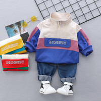 Wholesale baby jeans embroidery for sale - Group buy Baby Boys sports casual outfits toddler kids letter embroidery patchwork color sweatshirt loose jeans sets fashion boy clothes J0551