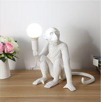 Wholesale fashion modern chandelier for sale - Group buy Modern Black Monkey chandeliers Hemp Rope Pendant Light Fashion Simple Art Nordic Replicas Resin Seletti Hanging Monkey Lamp
