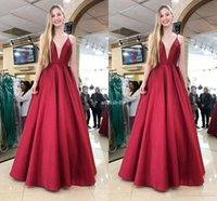 Wholesale high neck lace prom for sale - Group buy 2019 New Evening Dresses Spaghetti Strap Deep V Neck Backless Floor Length Formal Party Evening Gowns Elegant Special Occasion Dress Vestido