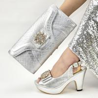 bayanlar ayakkabı çanta takımları toptan satış-İtalyan Bayan Ayakkabı ve Çanta Seti Afrika Parti Aplikler dekore Topuklar Düğün Ayakkabıları ile Bayan Sandaletler pompaları eşleşmesi için